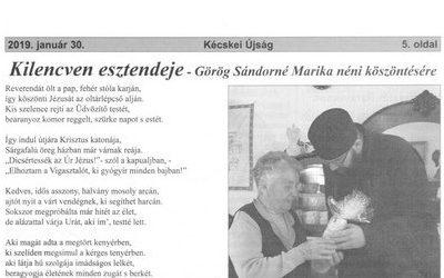 Kilencven esztendeje – Görög Sándorné Marika néni köszöntése