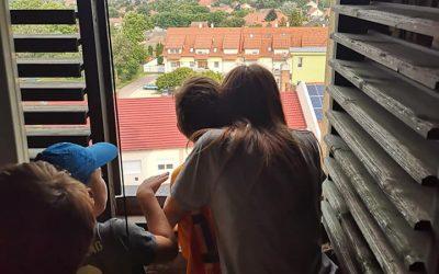 A templomtoronyba is felmentünk a táborozókkal