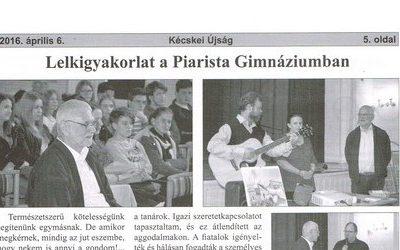Lelkigyakorlat a Piarista Gimnáziumban