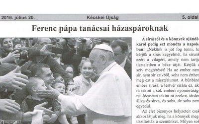 Ferenc pápa tanácsai házaspároknak