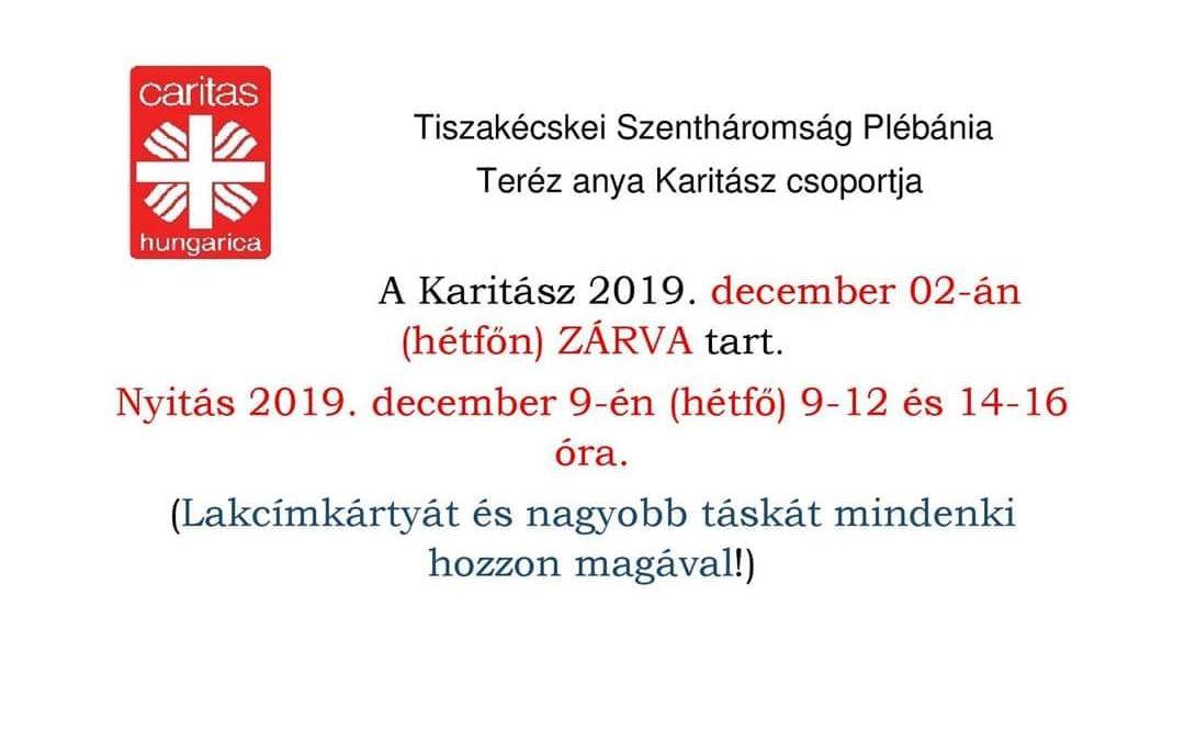 Legközelebb december 9-én lesz nyitva a Karitász